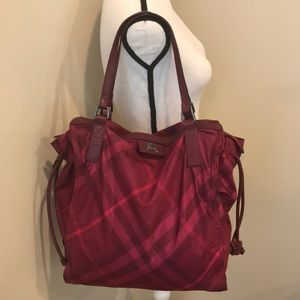 Burberry Nova Check Fuchsia Tote Bag
